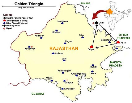 Golden Triangle Map with Rajasthan Travel